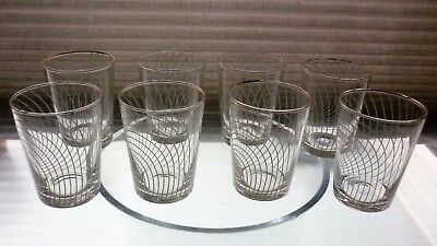 "Set of 8 vintage Chance ""Swirl"" pattern 6.5cms high Shot glasses."