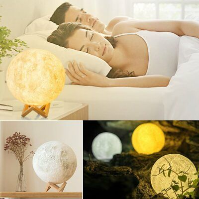 Colorful 3D Printing Luna Night Light LED Moon Lamp Touch Control Lighting Gift#