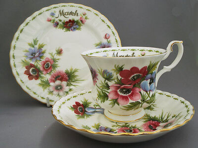 Royal Albert *MARCH* Flower of the Month Trio