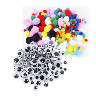 308pcs 7 Sizes Googly Wiggly Eyes SELF ADHESIVE and 300pcs Pom Pom Balls
