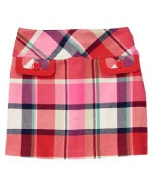 Gymboree Brightest In Class Skort Size 8 Red Plaid Skirt New Girls Twins