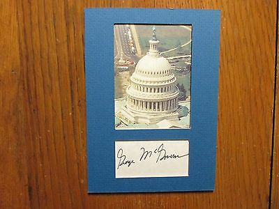 """GEORGE  McGOVERN (Died in 2012) 5"""" x 7"""" Matted  Capitol photo  with  autograph"""