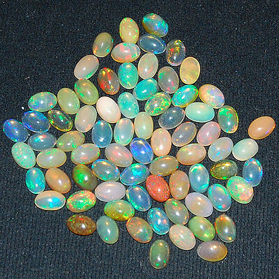 74 Pcs ~6mm/4mm~ Natural Ethiopian Opal ~ Vibrant Color Play Flashy Gemstones