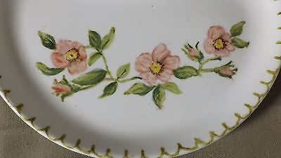 Half Moon China Plate,  Hand painted Flower, S Hope, 1975