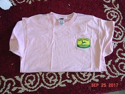 John Deere  Ladies Pink T-Shirt With Patch, New, Sizes Avail. M, Xl, 2Xl