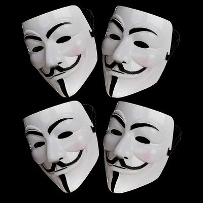 4 X Anonymous Hacker V For Vendetta Guy Fawkes Fancy Dress Halloween Face Mask