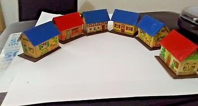 "Lot of 4 Vintage Paper Christmas Village House Miniature 1.5""  EAST GERMANY"