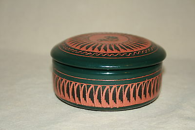 Small Navajo Carved & Glazed Covered Bowl Kokopeli Theme Signed Cadman 40936