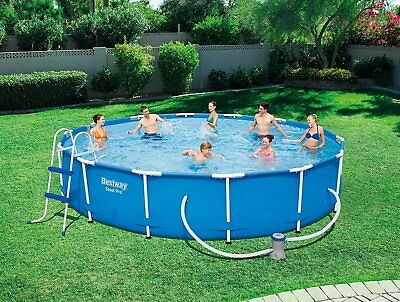 "NEW Bestway 56598 Steel Frame Family Swimming Pool with Ladder 14' x 33"" - Blue"