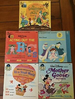 Walt Disney Its A Small World Mother Goose Grasshopper Record Book Lot