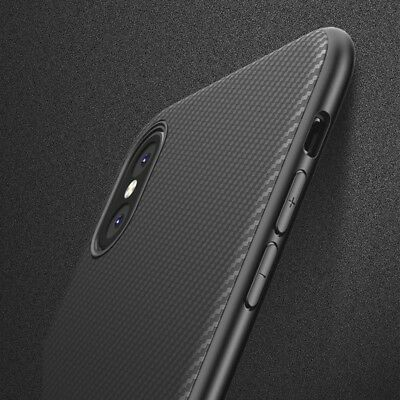 For iPhone XS 8 X 7 Luxury Ultra Thin Shockproof Carbon Fibre Case Cover Apple