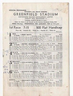 Dudley Hill Bradford, Greenfield Stadium, Greyhound Racing Programme. 1969