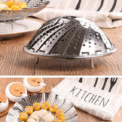 Stainless Steel Folding Retractable Steamer Fruit Drain Plate With Metal Handle