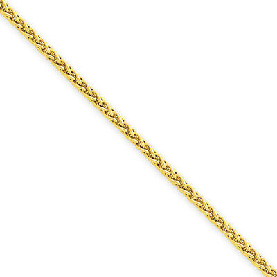 1.9mm, 14k Yellow Gold, Round Solid Wheat Chain Necklace, 16 Inch