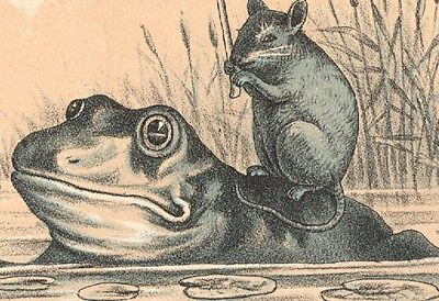 1880s INVALUABLE METAL POLISH TRADE CARD, FERRYMAN, FROG W/ MOUSE ON BACK  C427