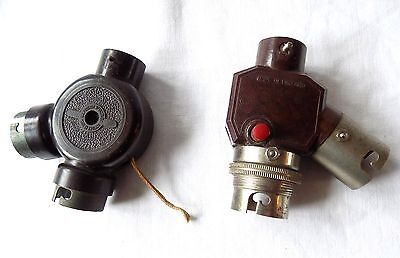2 Vintage Bakelite Bayonet Type Two Bulb Adaptor Light Fittings With Switches.