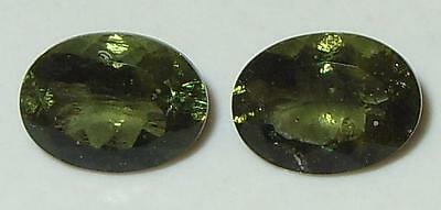 2.11ct Pair Faceted NICE QUALITY Natural Czechoslovakia Moldavite Oval Cut 8x6mm