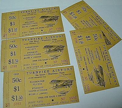 5 lot of 1930's Biplane aircraft Ride Ticket, Turnpike Airport, Westborough MA.