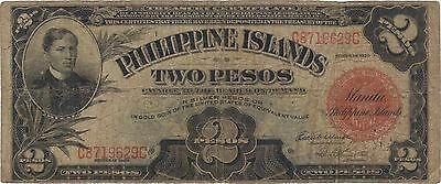 1929 2 Pesos Philippine Islands Philippines Currency Banknote Note Bill Cash