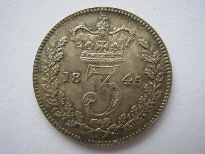1845 Young Head silver Threepence GEF