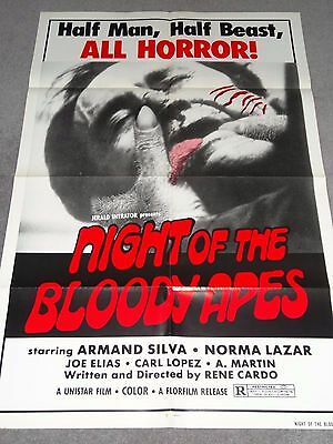 Night Of The Bloody Apes Video Nasties Gore Pre Cert Horror Rare Original Poster