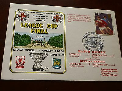 Liverpool v West Ham United League Cup Final First Day Cover 14/3/1981