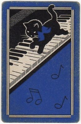 Playing Cards 1 Single Swap Card - Old Vintage KITTEN CAT + Bow PIANO MUSIC 3