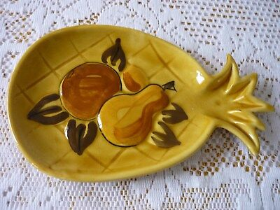 Vintage 1965 Los Angeles Potteries Pineapple Dish 9.3/4'' X 6'' Raised Pattern