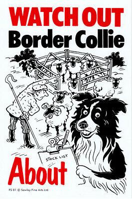 NEW Watch Out Border Collie About Dog Sign Dog Breed Pet Gate Fence Wall