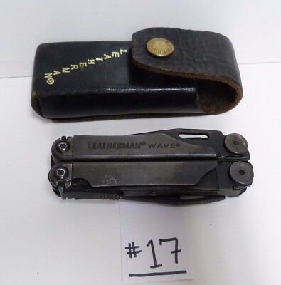 Leatherman Wave Blk Oxide Folding Multi Tool Knife & Leather Sheath Used -B19#17