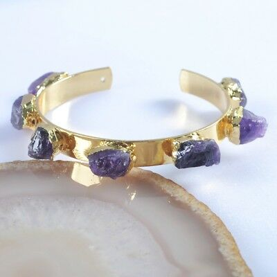 Freeform Rough Natural Amethyst Bangle Gold Plated T045496