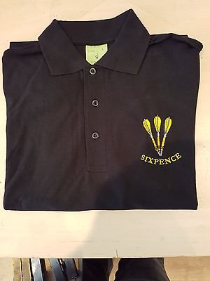 10 X Custom Dart Polo Shirt Embroidered With 3 Darts Logo & Your Choice Of Name