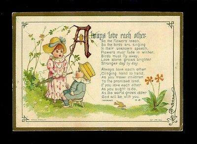 """""""Always Love Each Other"""" Victorian Trade Card"""