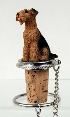 Airedale Terrier Dog Hand Painted Resin Figurine Wine Bottle Stopper