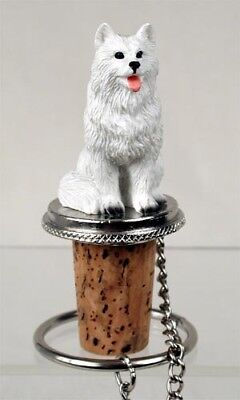 American Eskimo Dog Hand Painted Resin Figurine Wine Bottle Stopper