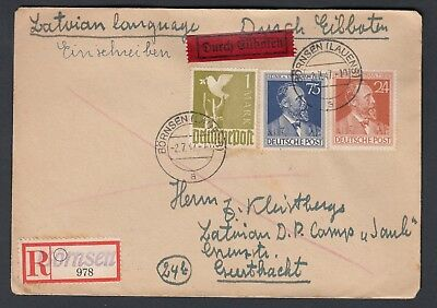 GERMANY 1947 REGISTERED COVER, Bornsen  to a Latvian D.P. Camp