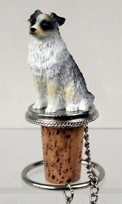 Australian Shepherd Blue Dog Hand Painted Resin Figurine Wine Bottle Stopper