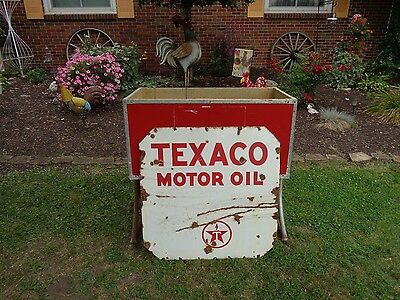 """Vintage """"texaco Oil"""" Two Sided Metal Porcelain Sign 30"""" X 30"""" Good"""