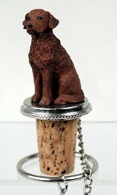 Chesapeake Bay Retriever Dog Hand Painted Resin Figurine Wine Bottle Stopper