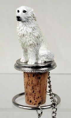 Great Pyrenees Dog Hand Painted Resin Figurine Wine Bottle Stopper