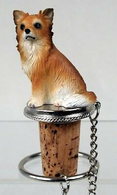 Chihuahua Tan Longhaired Dog Hand Painted Resin Figurine Wine Bottle Stopper