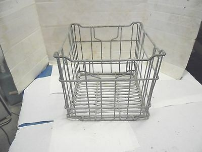 galvanized metal wire milk crate 4 handles industrial dairy decor stand