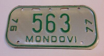 Vintage Wisconsin 1976-77 Mondovi Bicycle License Plate