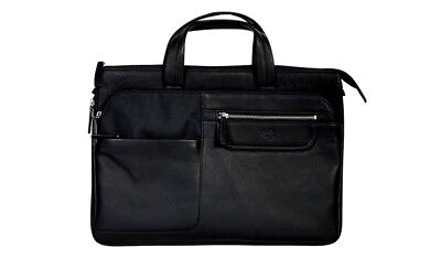 Scully Western Briefcase Leather Nylon Three Way Zip Closure 105-33