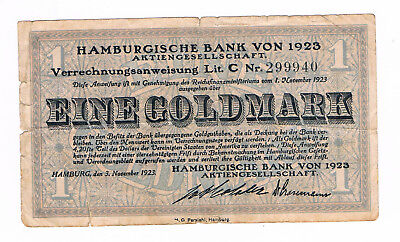 1 Goldmark Hamburg Bank AG  1923    (G2/2)