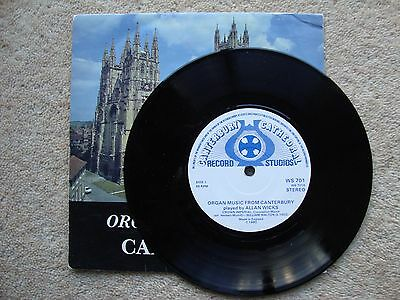 "Allan Wicks ~ ORGAN MUSIC FROM CANTERBURY ~ 7"" SINGLE 1980"