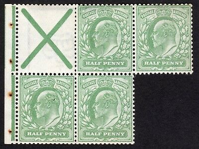EDVII SG218aw ½d Pale yellowish Green St Andrew's Cross : MNH part pane