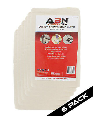 ABN Premium 9'x12' Foot Large Canvas Drop Cloth 6-Pack All Purpose Paint Shield