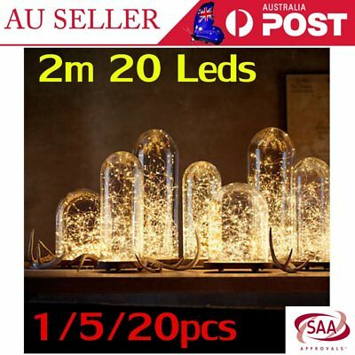 1/5/20X 2m 20 LED Button Battery Operated Copper Wire String Fairy Light X'mas A