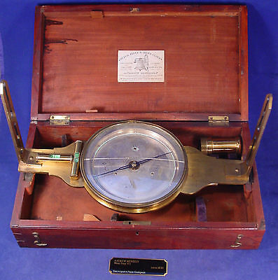 1842 Andrew Meneely Large Brass Surveyors Compass, Box & Xtras - a Beauty
